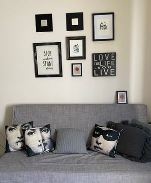 IKEA Lovas Gray Sleeper Sofa Bed Futon + Cute Print Art Pillows for Sale in West Los Angeles, CA