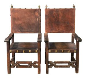 Spanish Antique Walnut Leather circa 1940s dining room chairs - handmade - exquisite set of 4 for Sale in San Diego, CA