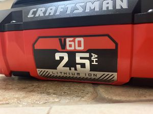 Crafts man v60 2.5 battery for Sale in Grand Prairie, TX
