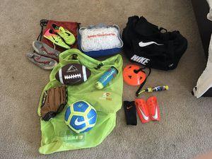 Football , Soccer Goal Net ($100 New) , Track spikes (sz10), baseball glove for Sale in Scottsdale, AZ