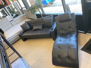 Black leather futon and chaise!! for Sale in Fort Myers, FL