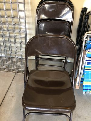 Four brown metal chairs for Sale in Langhorne, PA
