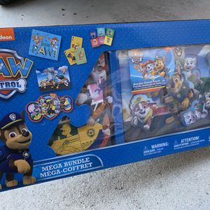 Paw Patrol Mega Bundle Pack - 3 Puzzles, Dominos And Jumbo Playing Cards - Fun Games For The Kids - Brand New for Sale in Fort Lauderdale, FL