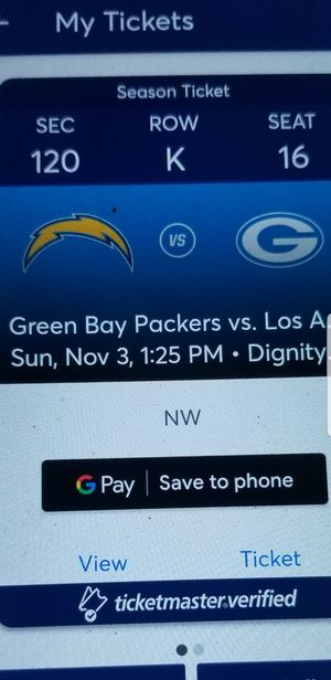 Los Angeles chargers game 2 tickets for $700 please don't ask if you not interested serious buyers text me if you're interested for Sale in Menifee, CA