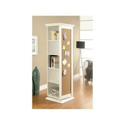 Swivel Accent Rotating Cabinet With Cork Board And Dressing Mirror Shelves White for Sale in Missouri City,  TX