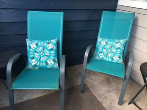 Teal, grey, brown beige set of four chairs with cushions for Sale in Renton, WA