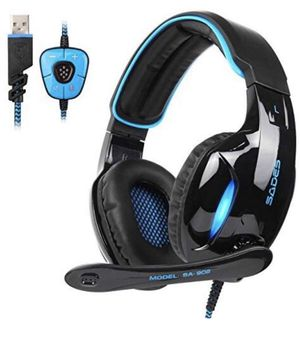 SADES SA902 7.1 USB Surround Sound PC Headsets Over-Ear Gaming Headphones with Microphone LED Light for Sale in La Puente, CA