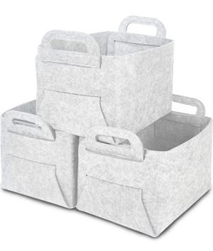 Foldable Storage Baskets for Closet 3 Pack, Thickened Felt Cube Storage Bins with Carry Handles, Large Organizing Baskets for Clothes, Laundry, Books for Sale in Winter Garden, FL