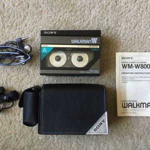 SONY Walkman WM-W800 Stereo Double Cassette Player Corder Tape Recorder Case Mic Vintage Speaker Retro 80s CD VHS Vinyl for Sale in Jamul, CA