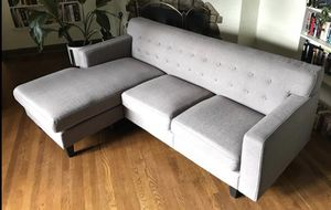 Gray mid-century style sofa, interchangeable L shape sectional for Sale in Portland, OR
