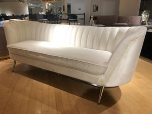 White ultra suede sofa couch on gold legs for Sale in Rockville, MD