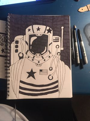 Hand drawn picture of a astronaut for Sale in Riverview, FL