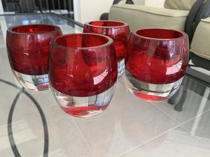 "3"" red ruby glass heavy tealight candleholders, Lot of 4 , in good condition for Sale in Hobe Sound, FL"