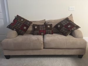 Tan couch w/3 pillows for Sale in Alexandria, VA