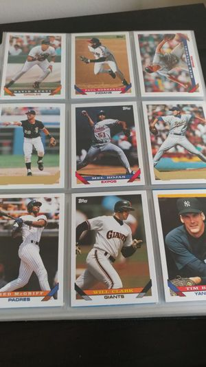 41 page baseball card collection from late is through 90s for Sale in Hilliard, OH