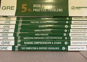 Manhattan Prep GRE Materials with 5lb. Book of Practice Problems for Sale in Rockville, MD