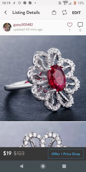 Silver Garnet Ring size 10 for Sale in Wichita, KS