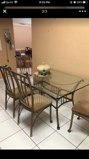 Dining table glass top with six chairs for Sale in Miami, FL