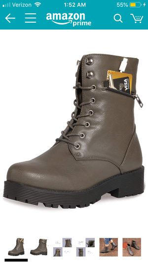 Taupe colored military combat boots w/ hidden pocket for Sale in Pacifica, CA
