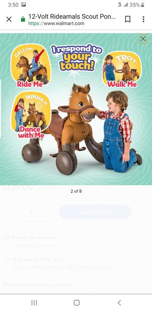 12-Volt Rideamals Scout Pony Interactive Ride-On Toy by Kid Trax for Sale in Moreno Valley, CA