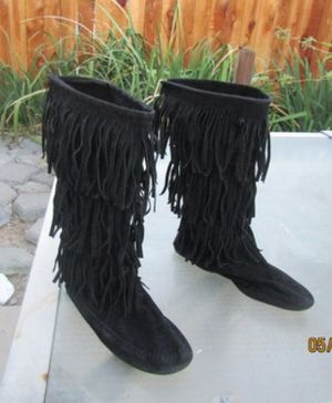 Suede Fringe Moccasins Woman's 8 Hippie Boots Shoes for Sale in Dallas, TX