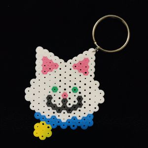White Kitty Cat Kawaii Perler Keychain for Sale in El Paso, TX