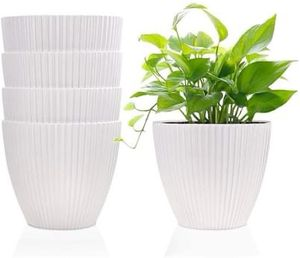 White Modern Minimalist 6 Inch White Plastic Pots Set of 5 for Sale in Corona, CA
