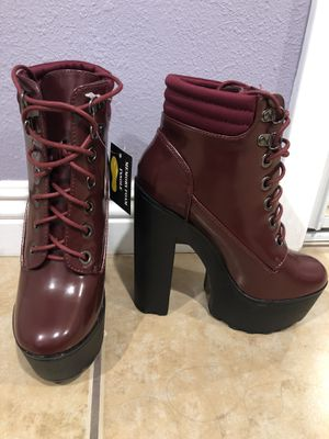 Fashion Nova The More the Better Bootie in Burgundy Size 6 for Sale in Los Angeles, CA