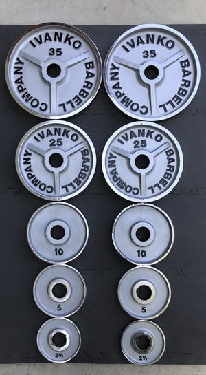 IVANKO CHROME OLYMPIC PLATES SET VINTAGE RARE WEIGHTS for Sale in Hawaiian Gardens, CA