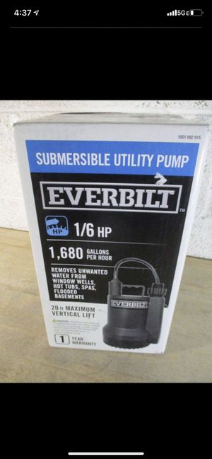 Everbilt 1/6 HP Plastic Submersible Utility Pump for Sale in Glendale, AZ