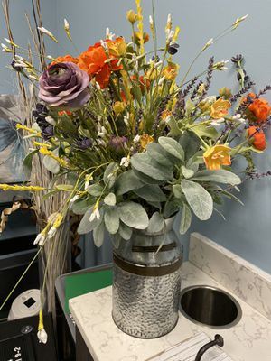 Set of faux flower arrangements in milk tin vases for Sale in Parker, CO