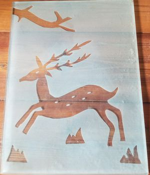 Reindeer deer frosted glass heavy duty nice for Sale in Three Rivers, MI
