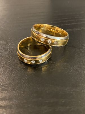 18K Gold plated Matching Ring Set- 3 Diamond for Sale in San Diego, CA