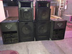 6. Boxes. Speaker with tweeter. 15. Inches for. Band. Dj or night club etc real good condition. 4. Peavey and 2. Cerwin. Vega for Sale in Long Beach, CA