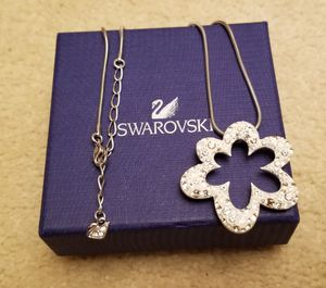 Limited Edition Swarovski White Crystal Open Flower Pendant Necklace for Sale in Germantown, MD