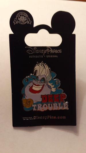 DISNEY PARKS PIN Mystery Villains Pin Ursula DEEP TROUBLE NEW on Original Card for Sale in Fort Lauderdale, FL