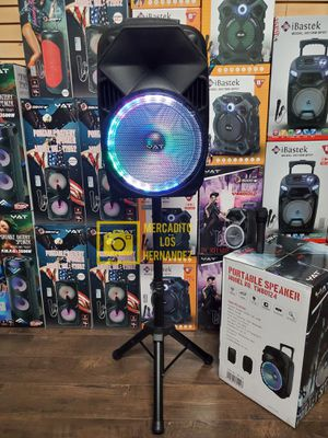 """Bocina Nueva Bluetooth Speaker 12"""" Karaoke With Stand LED Lights Mic 🎤 . 📦 Rechargeable 🔋 +++ for Sale in Los Angeles, CA"""