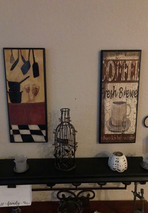 To picture frames metal wire corks bottle 2 rod iron sconces with candles. for Sale in Corona, CA
