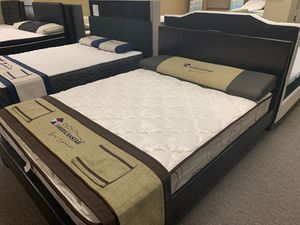 Queen-size espresso platform bed with mattress and free delivery for Sale in Irving, TX