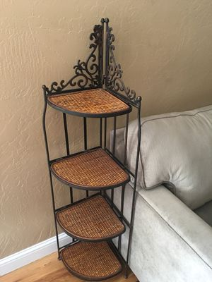 Iron & wicker corner shelf for Sale in Livermore, CA