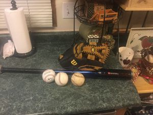 "Baseball package including Wilson like new 12.5"" Model A360 baseball glove, 3 baseballs and DeMarini baseball bat (6 to pick from) for Sale in Plainfield, IL"