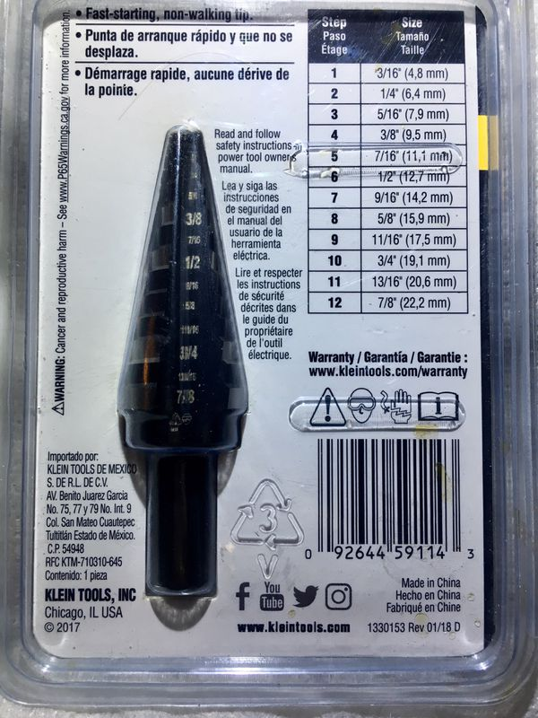 Klein Tools KTSB14 Step Drill Bit #14 Double-Fluted NEW for Sale in North  Little Rock, AR - OfferUp