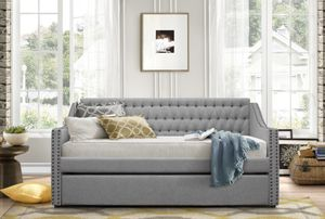 Fabulous Gray tufted Daybed with trundle double twin bed for Sale in Peoria, AZ