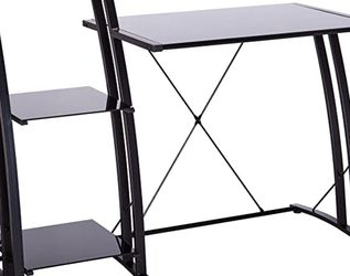 Black/Glass Desk With Tiered Shelf for Sale in Los Angeles,  CA