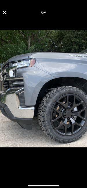 "Brand New 22"" Black Rims and New All terrain tires 22 Wheels 22s Rines y llantas Chevrolet Silverado Tahoe Avalanche GMC Sierra Yukon suburban Denali for Sale in Dallas, TX"