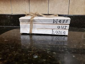 Bless our home. Natural decor. Unbound Stacked Stamped Decorative pieces. Mantle decor. for Sale in Collinsville, IL