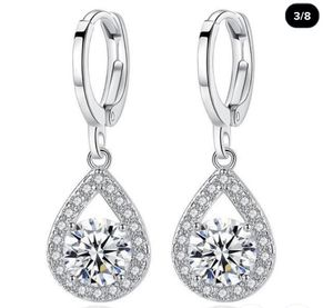 Exquisite 1.20 Round Diamond Drop 925 Sterling Silver Dangle Drop Earrings for Women for Sale in Long Beach, CA