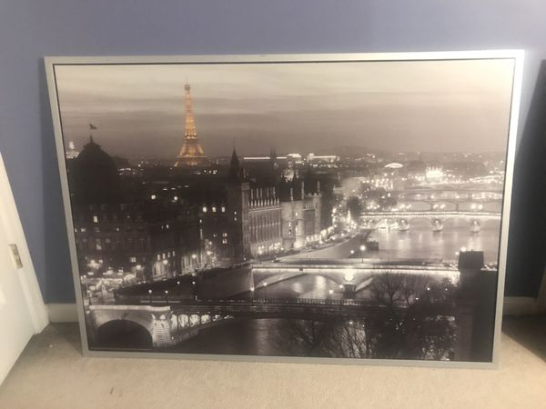 London portrait on silver painted wooden frame