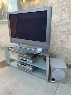 """Panasonic 43"""" tv with tv stand and surround sound system Sony for Sale in Rancho Cucamonga, CA"""