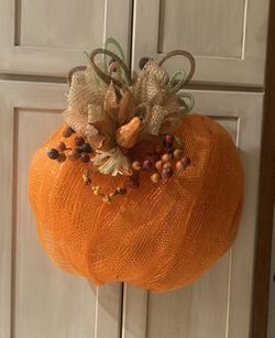 Handmade Deco Mesh Pumpkin Wreath for Sale in Martinsburg,  WV